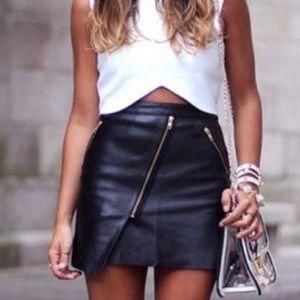 Leather zipper skirt